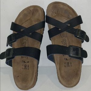 Birki's Birkenstock Fussbett Black Leather Sandals